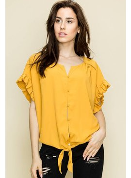 Glam Buttoned Front Pleated Blouse