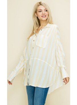 Glam Stripe Button Down Front Drapped Tie Pocket Shirt