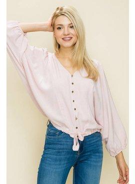 Glam Micro Stripe Button Front Tie Top