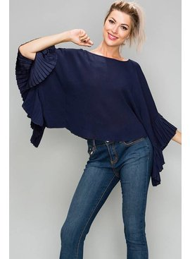 Glam Solid Knit Off Shoulder Bell Sleeve Top