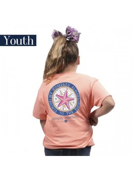 Simply Southern Collection Youth Preppy Compass Short Sleeve T-Shirt in Peachy