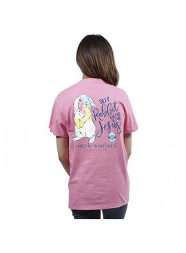 Simply Southern Collection Youth Preppy Easter Short Sleeve T-Shirt Flamingo