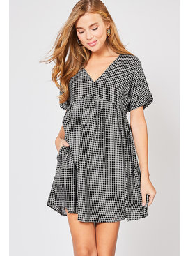 Entro Inc Grid print babydoll dress