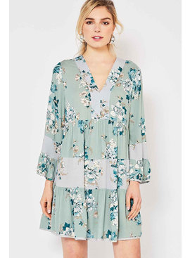 Entro Inc Floral print v-neck dress