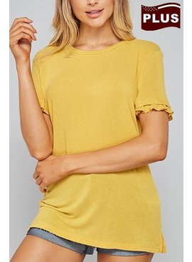 Ruffle Sleeve Solid Top