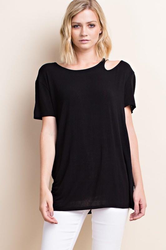 Asymmetric Shoulder Cutout T-Shirt