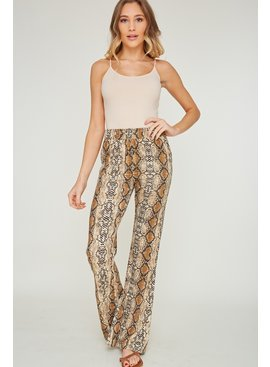 Wide Leg Snake Printed Pants