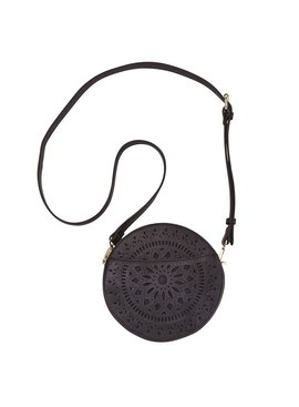 Mud Pie Faux Leather Laser Cut Crossbody Canteen Bag