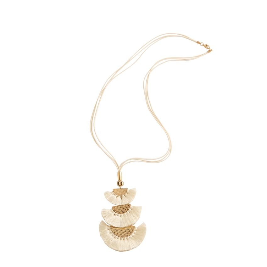 Hammered Gold Tassel Fringe Necklace