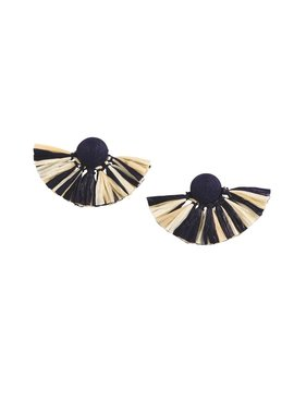 Mud Pie Raffia Tassel Fan Earrings