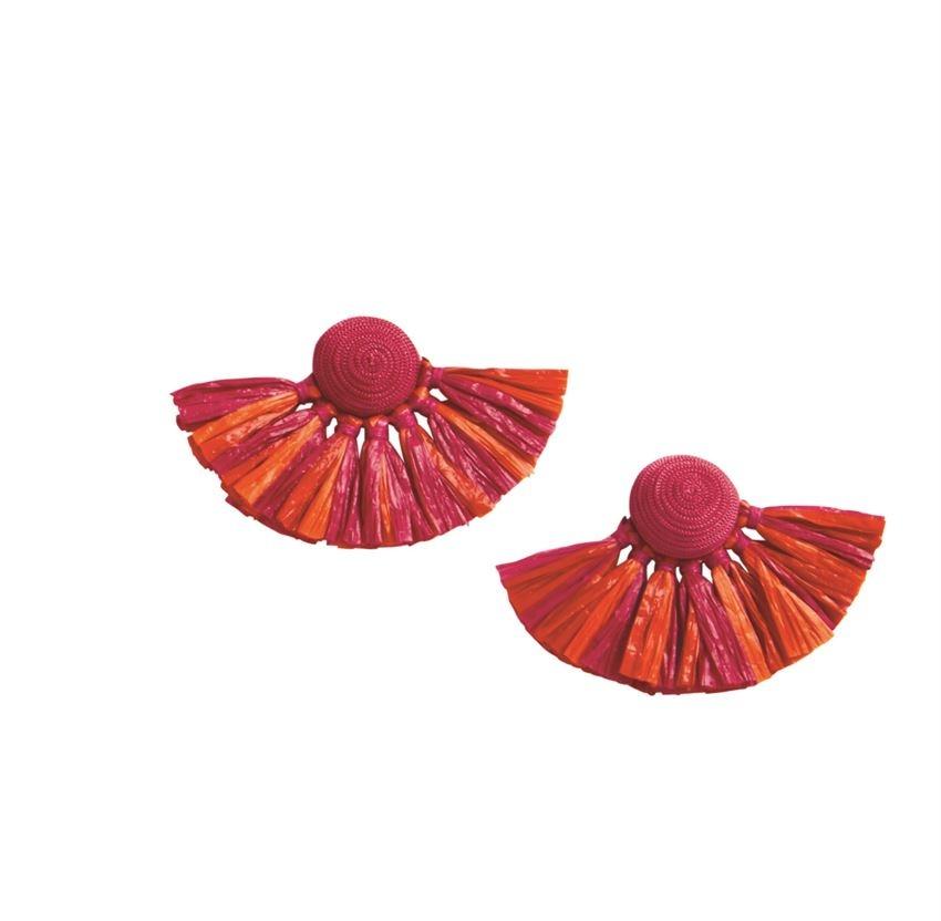 Mud Pie Raffia Tassel Fan Earrings