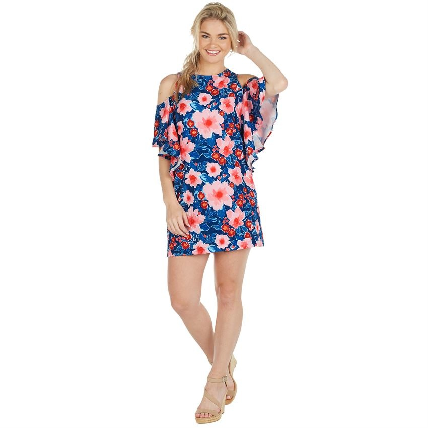 8131ed64e884d Birdie Cold Shoulder Ruffle Dress - King Frog Clothing   The LilyPad ...