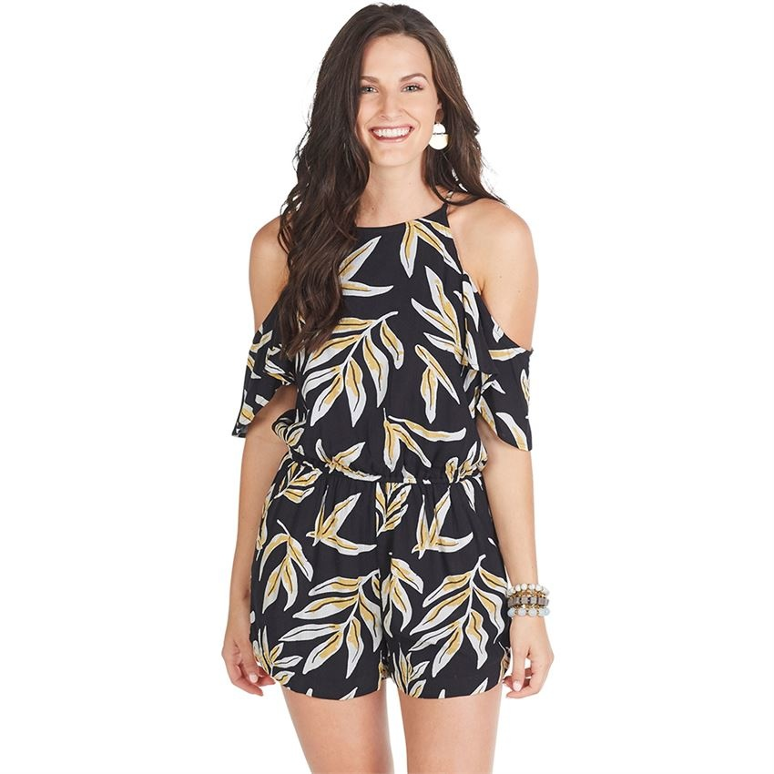 33177e99e17 Hayes Cold Shoulder Romper - King Frog Clothing & The LilyPad Boutique