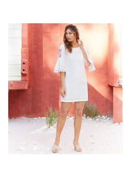 Mud Pie Michelle Embroidered Sleeve Dress in White