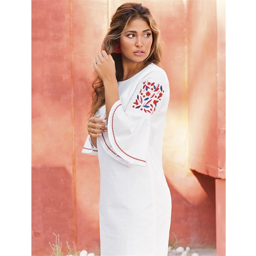 c966c4c3bd Michelle Embroidered Sleeve Dress in White - King Frog Clothing ...