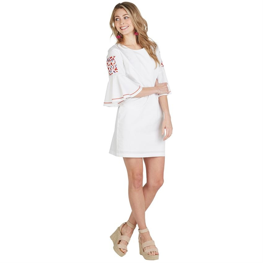 Michelle Embroidered Sleeve Dress In White King Frog