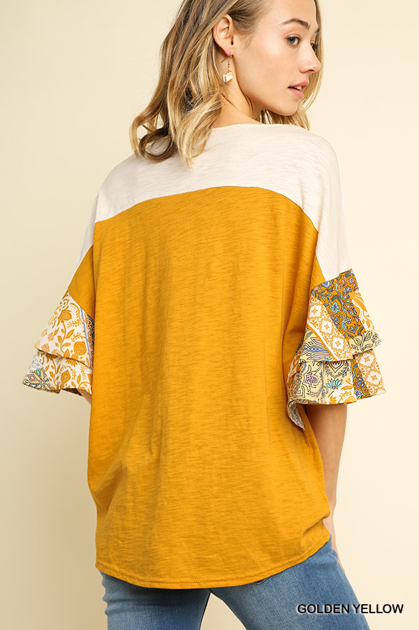 Umgee Colorblock Top with Bell Sleeves