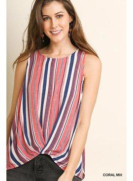 Umgee Striped Sleeveless Round Neck Top