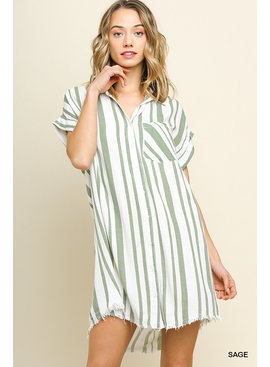 Umgee Striped Collared Button Up Dress