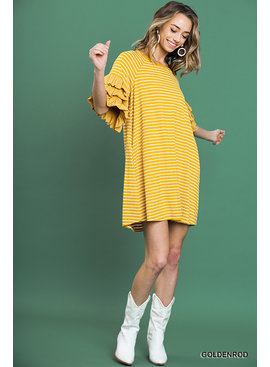 Umgee Striped Round Neck Dress