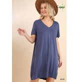 Umgee Basic Cupro V-Neck Tee Dress