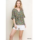Umgee Floral Print Babydoll Top