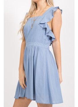 Ruffled Cutout Back Dress