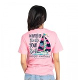 Simply Southern Collection Preppy Boat Short Sleeve T-Shirt in Flamingo