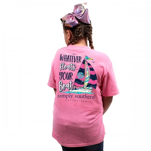 Simply Southern Collection Youth Preppy Boat Short Sleeve T-Shirt in Flamingo