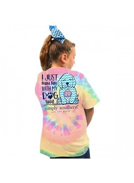 Simply Southern Collection Youth Preppy Dog Short Sleeve T-Shirt - Tiedye