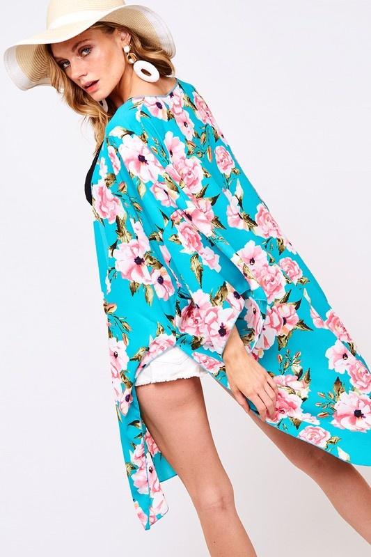 Vine & Love Floral Kimono With Slit