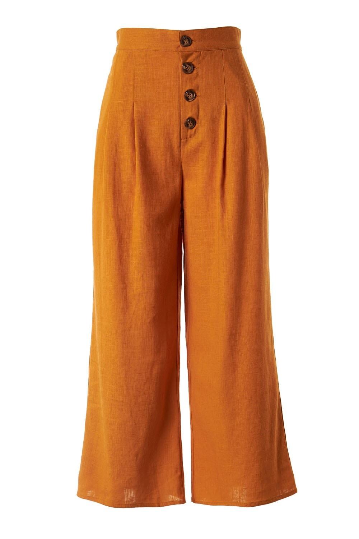 High Waist Woven Capri Pants