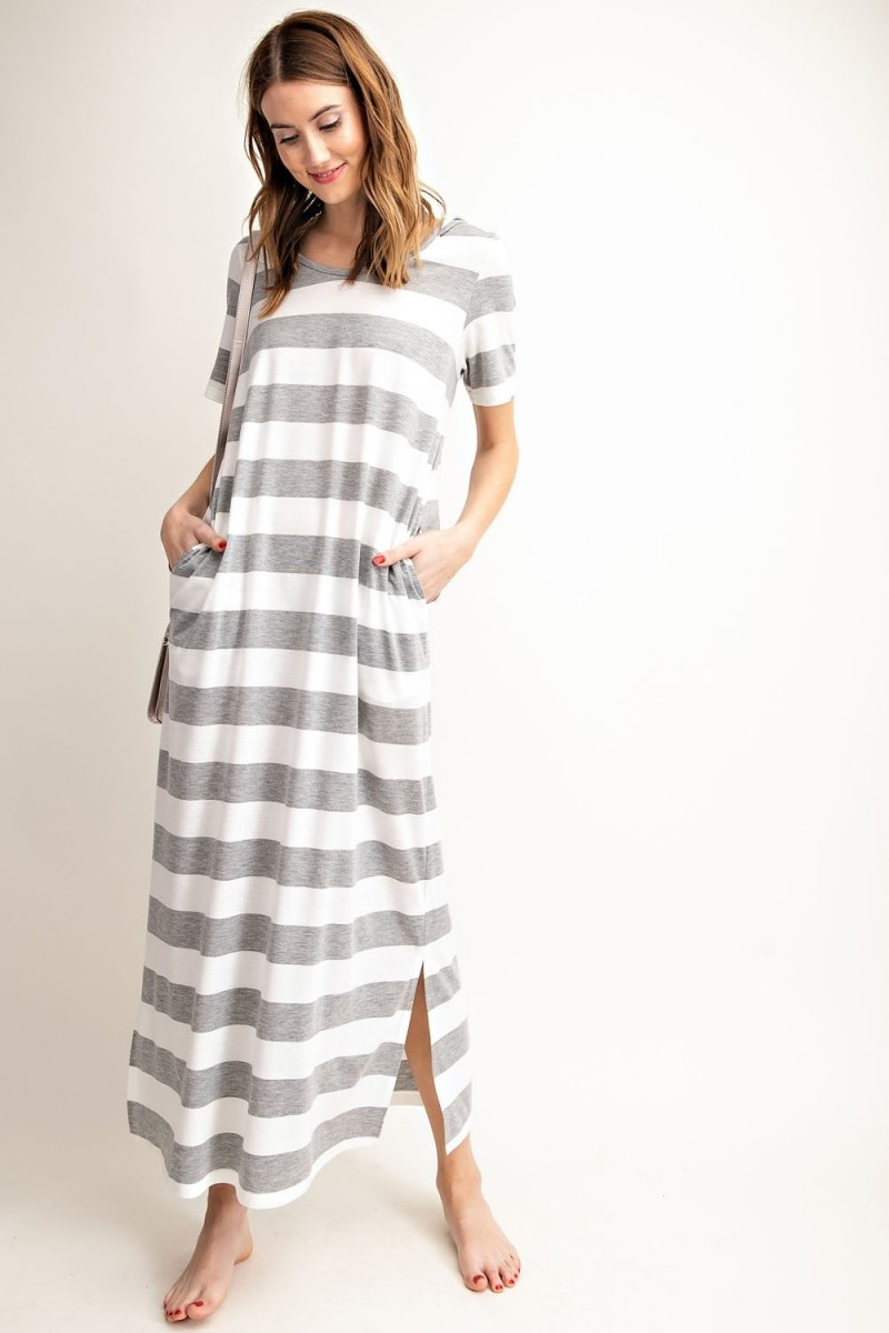 Rugby Stripe Hoodie Maxi Dress