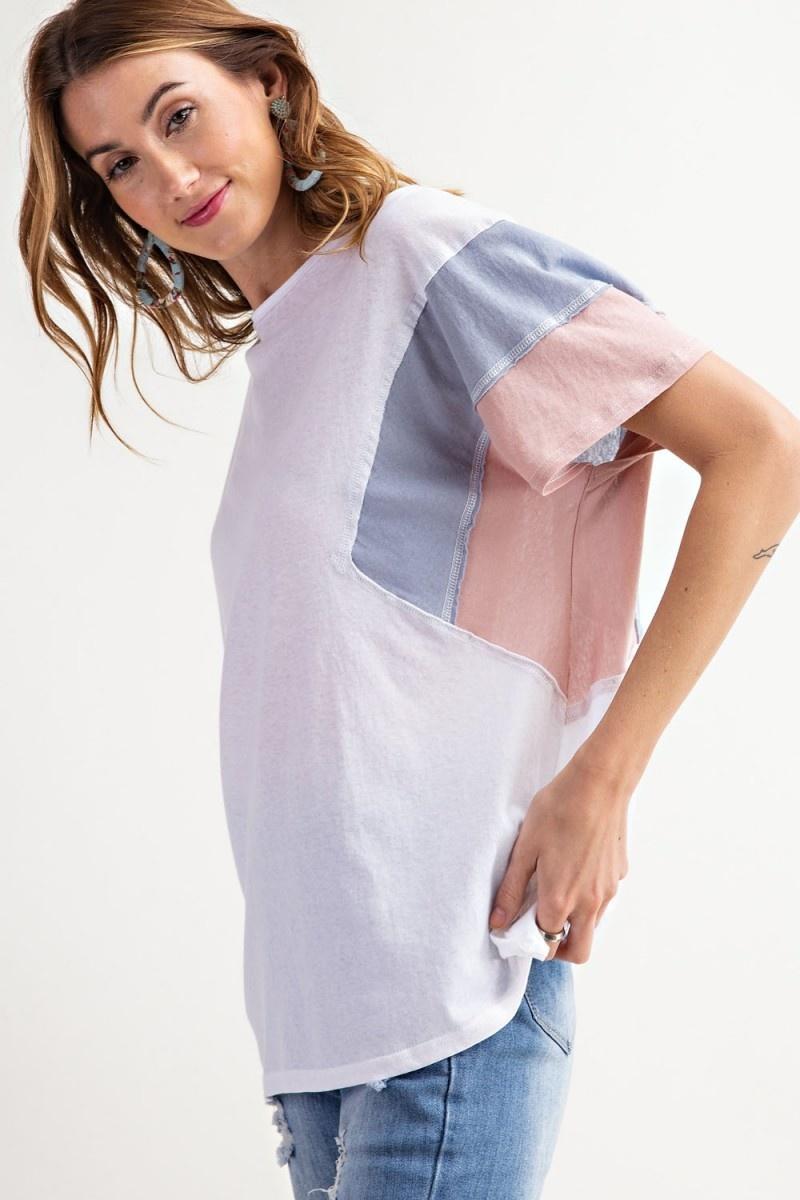 Color Block Cotton Slub Loose Fit Top