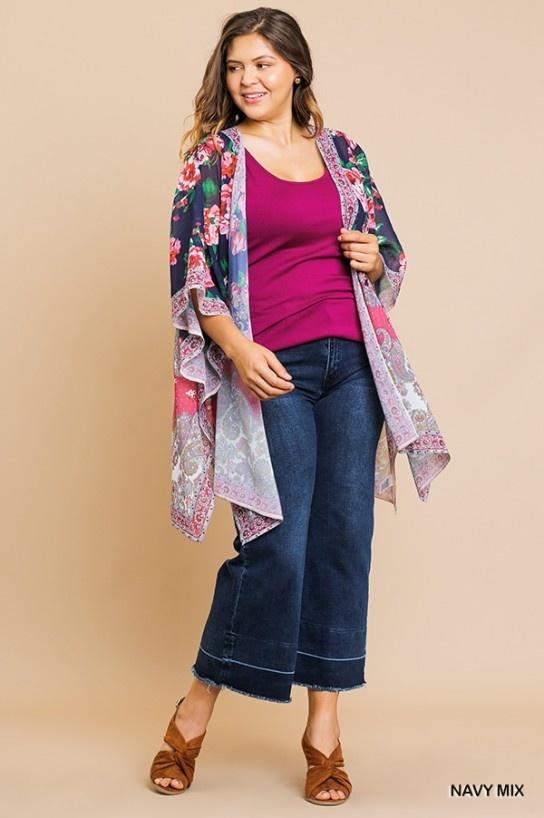 Umgee Sheer Floral Kimono