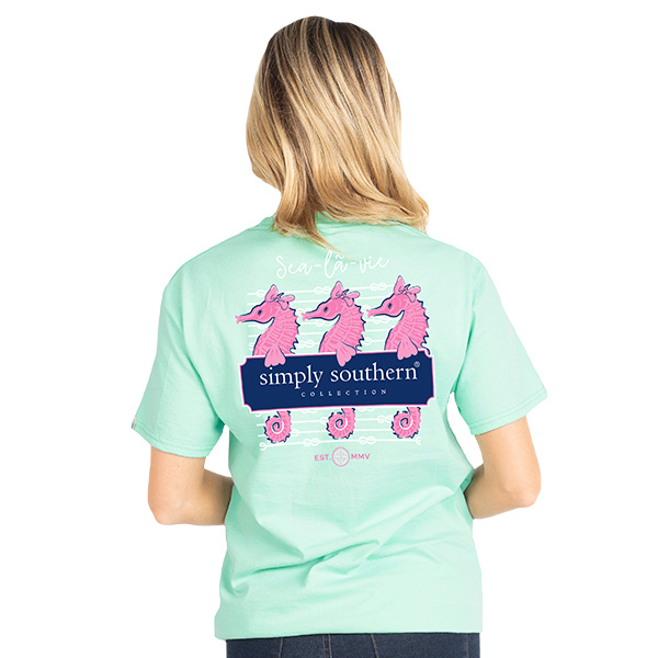 Simply Southern Collection PKT Preppy Seahorse Short Sleeve T-Shirt - Poseidon