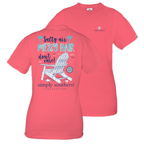Simply Southern Collection Salty Air Messy Hair Short Sleeve T-Shirt - Begonia