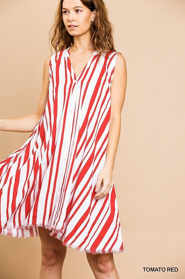 Umgee Striped Split Neck Button Front Dress