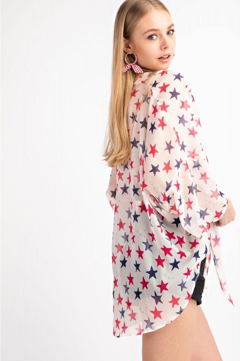 Star Print Sheer Chiffon Kimono