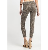 Animal Printed Self Distressed Ankle Stretch Pants