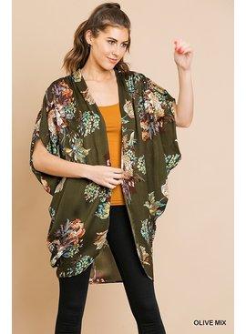 Umgee Floral Print Open Front Kimono