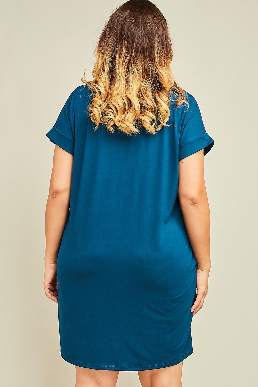 Solid V-neck Dress With Pockets