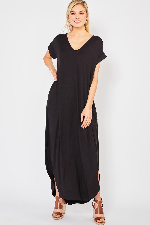 Entro Inc Jersey Knit Scoop-neck Maxi Dress