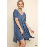 Umgee Washed V-Neck Tee Dress with Chest Pocket