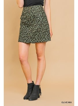 Umgee Animal Print High Waist  A-Line Mini Skirt
