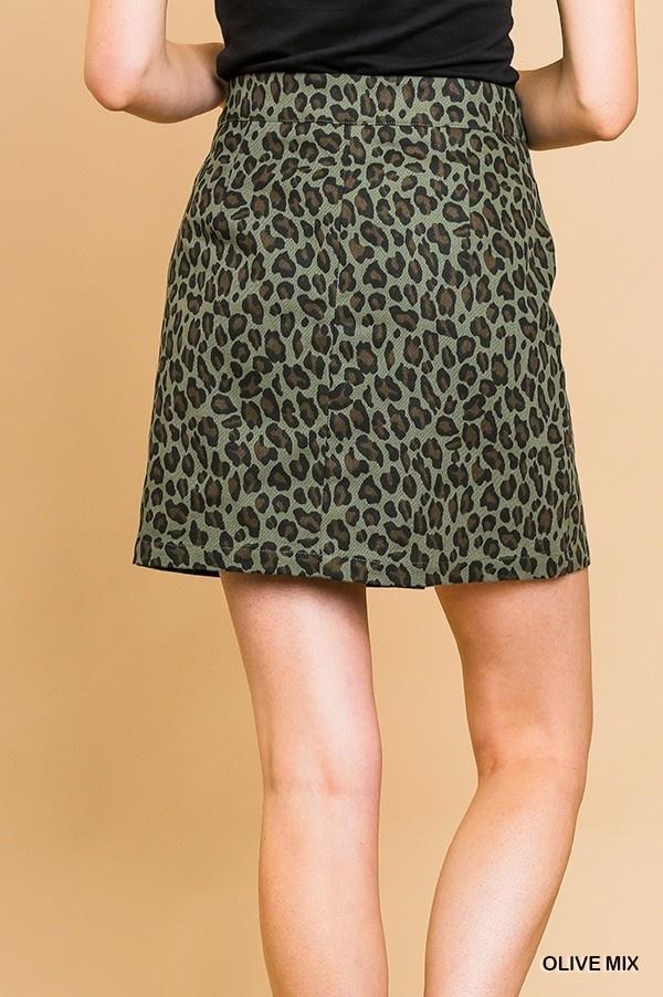 Umgee Animal Print High Waist  A-Line Mini Skirt