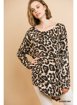 Umgee Animal Print Long Sleeve Top