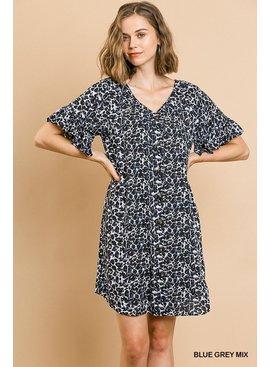 Umgee Animal Print Short Ruffle Sleeve Dress