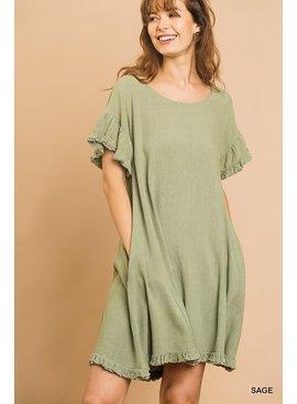 Umgee Linen Blend Short Ruffle Sleeve Round Neck Dress with Ruffle Hem