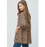 Cheetah print scoop-neck button-up tunic top